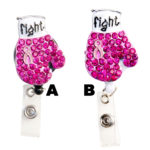 Custom Bling Rhinestone Pink Breast Cancer Awareness Ribbon Boxing Glove Retractable ID Badge Reel