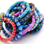 Bulk Wholesale Lot Handmade Random Mix Nepal Glass Bead Roll-On Stretch Bracelets