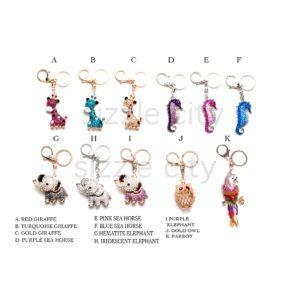 Custom Bling Rhinestone Animal Key Chain / Purse Charm: Group Shot