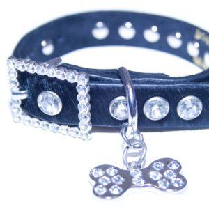 Black Leather Bling Rhinestone Fur Dog Collar with Bling Doggie Bone Charm