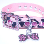 Pink Leather Bling Rhinestone Animal Print Dog Collar with Bling Doggie Bone Charm