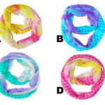 Custom Colored Fashion Statement Tie Dye Infinity Scarves