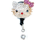 Custom Bling 3D Rhinestone Hello Kitty Head ID Badge Pull Reel Retractable ID Badge Holder