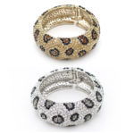 Thick Custom Bling Cheetah Rhinestone Animal Print Bangle Bracelet: Group Shot