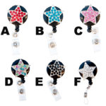 SIZZLE CITY Custom Bling Rhinestone Star Badge Reel Retractable ID Badge Holders: Group Shot