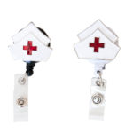 SIZZLE CITY Custom White 3D Nurse Hat Badge Reel Retractable ID Badge Holder: Group Shot