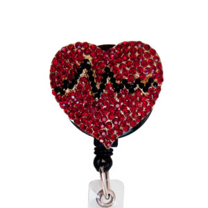 Red Bling Rhinestone EKG Heart Badge Reel Retractable ID Badge Holder