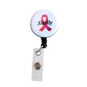 Customized Fight On Pink Breast Cancer Awareness Ribbon Retractable Badge Reel
