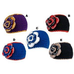 Custom Colored Floral Pattern Bling Knit Winter Rhinestone Headbands: Group Shot