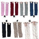 Womens Custom Color Lace Long Knit Button Leg Warmers: Group Shot