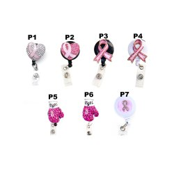 Wholesale Bulk Pink Breast Cancer Ribbon Retractable Badge Reels