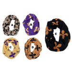 Women's Custom Color Fleur de Lis Patterned Infinity Loop Scarves: Group Shot