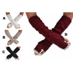 Long Lace Knit Patterned Button Arm Warmer Sleeves: Group Shot