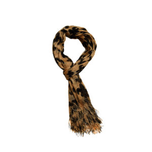 Long Black and Tan Fleur de Lis Patterned Fashion Scarf