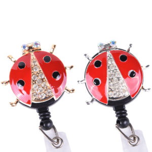Red Bling Lady Bug Badge Reel Retractable ID Badge Holder: Group Shot