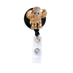 3D Gold Bling Rhinestone Elephant Badge Reel Retractable ID Badge Holder