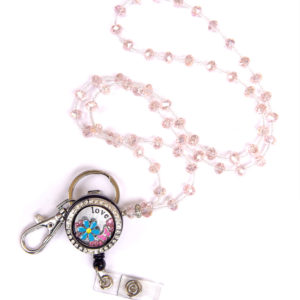 Blue Flowers Floating Charm Locket Pink Jewel Bead Lanyard Combo Set