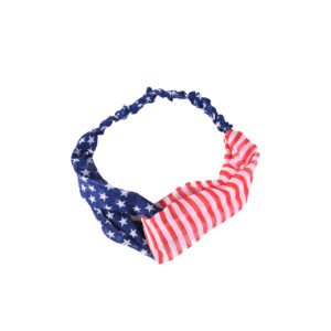 Custom Print Red, White & Blue American Flag Elastic Cloth Fabric Headbands: Main Image