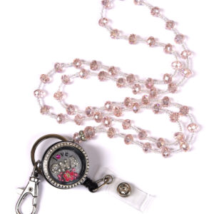 Love CNA Charm Locket Badge Reel Pink Jewel Bead Lanyard Set