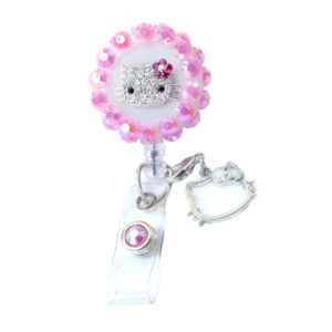 Pink 3D-360 Bling Rhinestone Hello Kitty Retractable ID Badge Holder: Featured Image