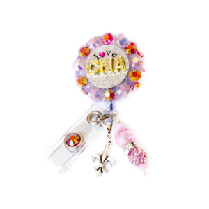 Iridescent 3D-360 Bling Rhinestone Love CNA Retractable ID Badge Holder: Featured Image