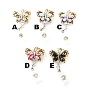 Bling Jewel Butterfly Retractable ID Badge Holder: Group Shot