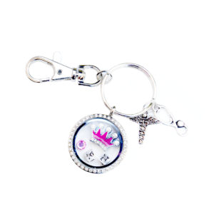 Bling Mini Crown RN Memory Charm Locket Rhinestone Key Chain: Featured Image