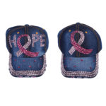 Women's Bling Pink Breast Cancer Awareness Ribbon Denim Hat: Featured Image