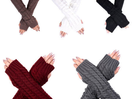 Women's Long Plain Cable Knit Fingerless Gloves: Homepage Slider