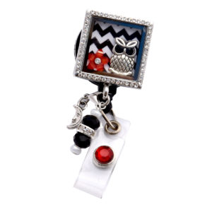 Square Chevron Owl Charm Locket Retractable ID Badge Reel: Featured Image