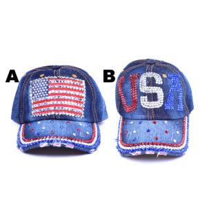 Women's USA Bling American Rhinestone Denim Hat: Featured Image