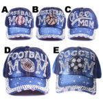 Women's Bling Sports Mom Denim Rhinestone Hats: Featured Image