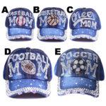 Women's Bling Sports Mom Denim Rhinestone Hats: Featured Image