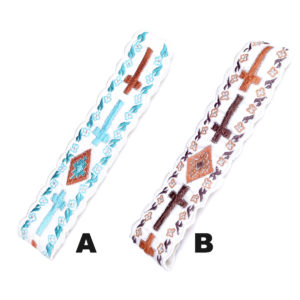 Custom Color Embroidered Cross Pattern Fabric Headbands: Featured Image