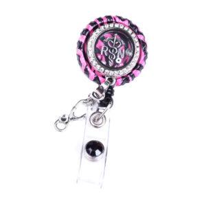 Pink Zebra RN Bottle Cap Charm Locket Retractable Badge Holder: Featured Image