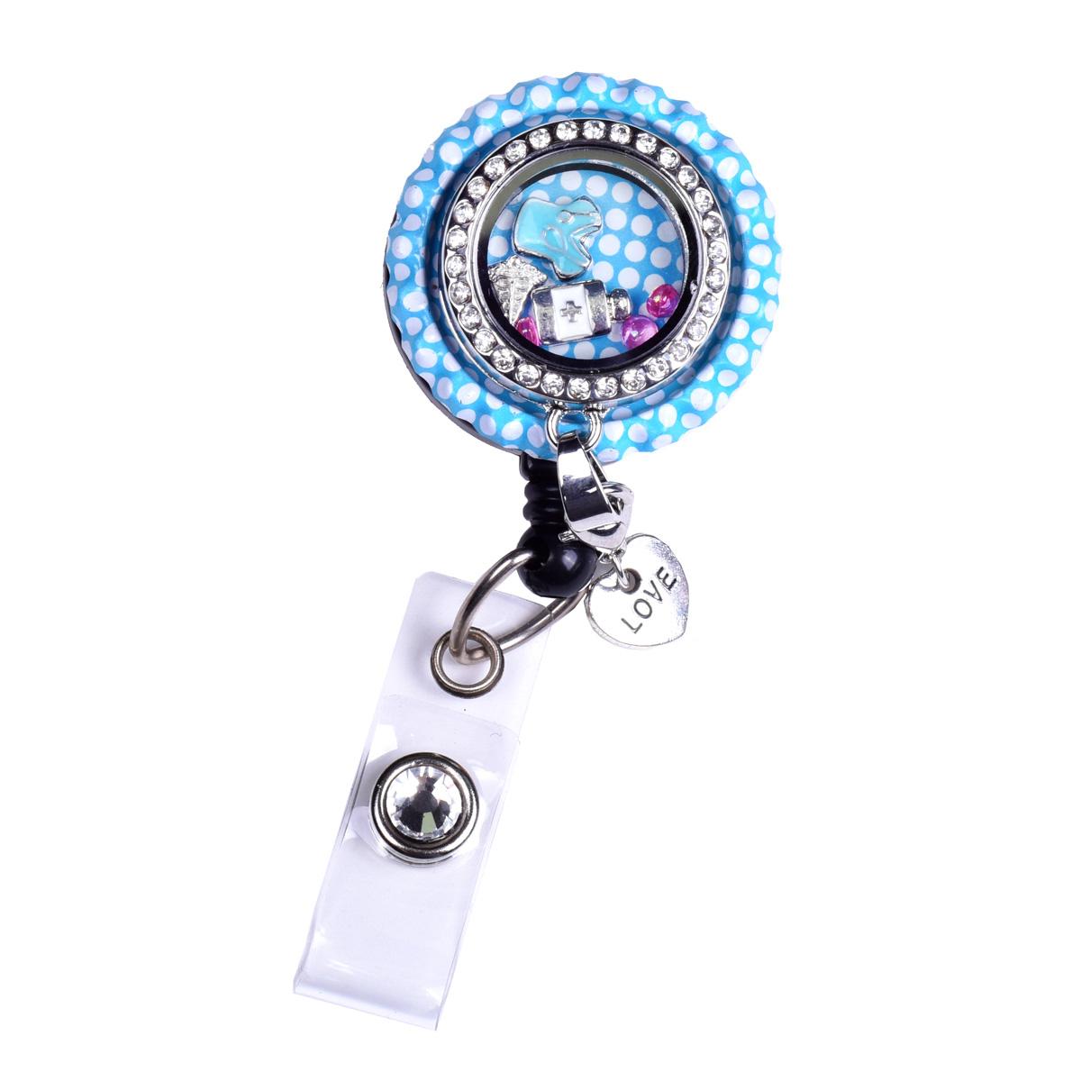 Blue Bottle Cap Nurse Charm Locket Id Badge Holder