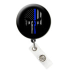 Skull Flag Thin Blue Line Retractable ID Badge Holder: Featured Image