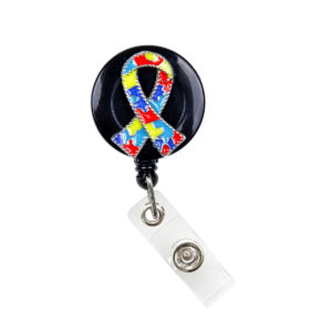 3D Autism Ribbon Badge Reel Retractable ID Badge Holder: Featured Image