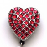 SIZZLE CITY Custom Rhinestone Retractable ID Badge Reel: Red Heart