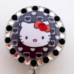 SIZZLE CITY Custom Retractable ID Badge Reels: Hello Kitty Black Hearts