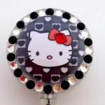 SIZZLE CITY Custom Retractable ID Badge Reels: Hello Kitty Black Hearts