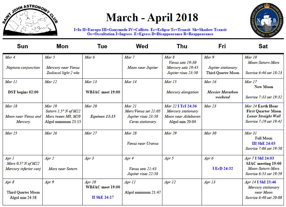 SJAC-Calendar-March-April-2018 - Saint John Astronomy Club