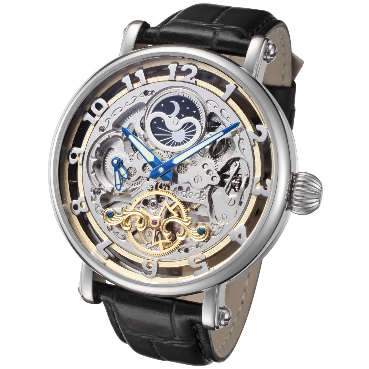 Automatic Watch Rougois Big Skeleton Automatic Watch With Dual Time Moon Phase