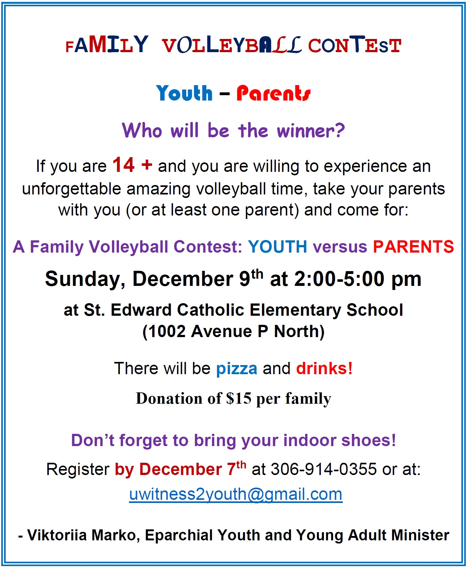 2:00 Pm Family Volleyball Contest Youth 14 Versus Parents Sunday