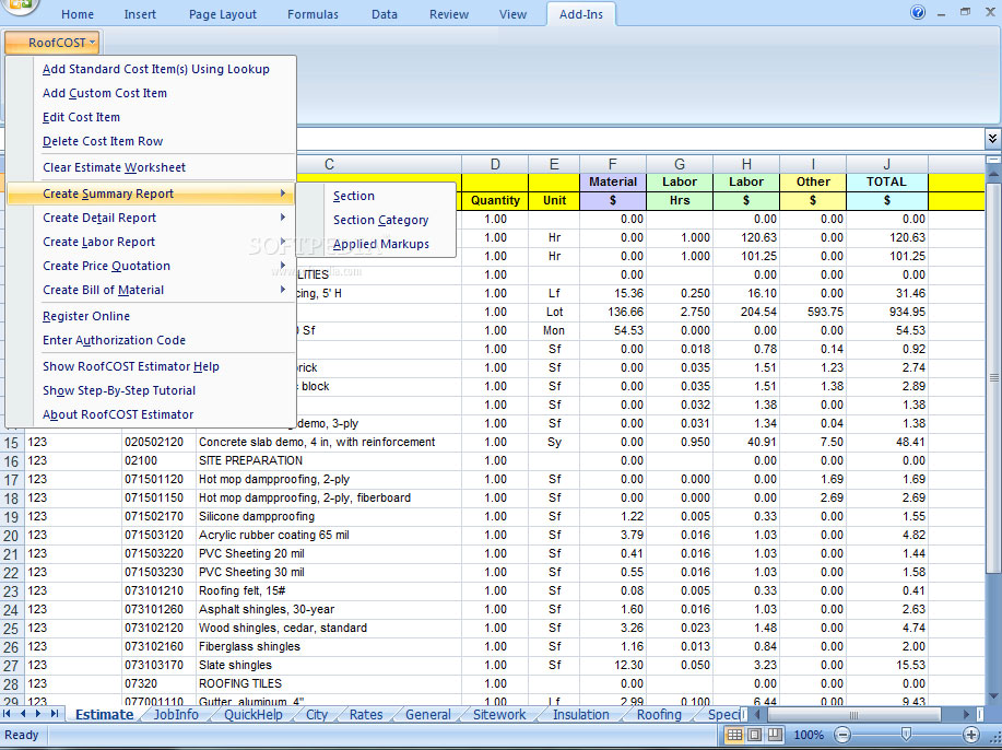 Roof Cost Estimator for Excel Roof Cost Estimator
