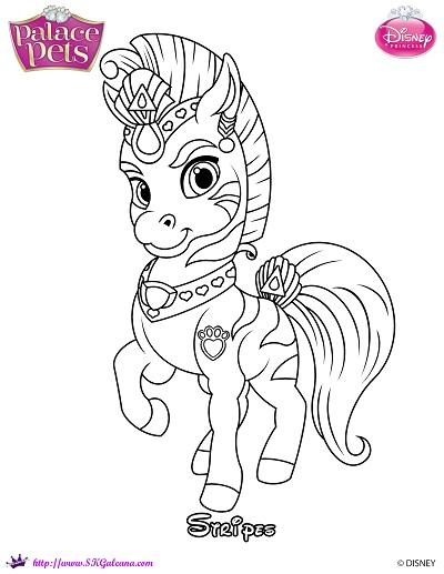 Stripes the zebra princess palace pets coloring page by for Princess pets coloring pages