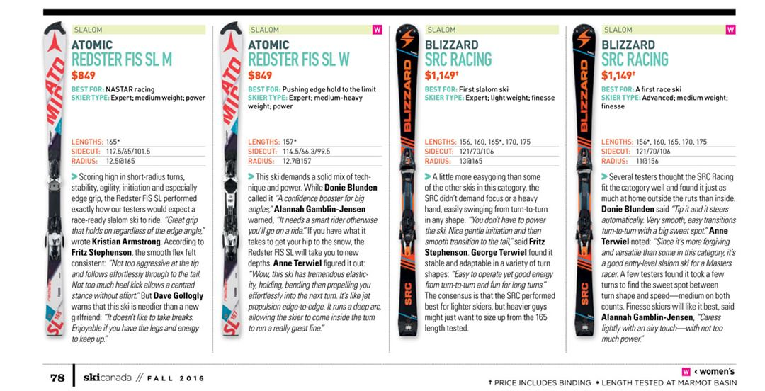 Slalom Test 2017/ Ski Canada Magazine