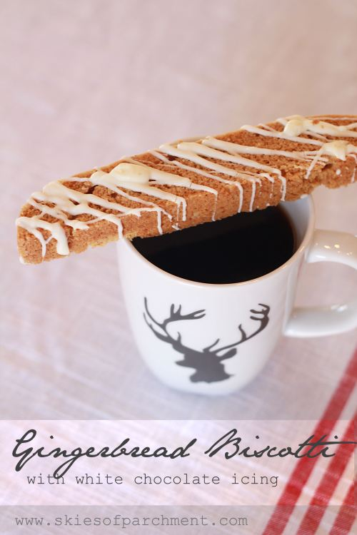 Gingerbread Biscotti with white chocolate icing