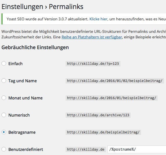 Permalinks in WordPress ändern
