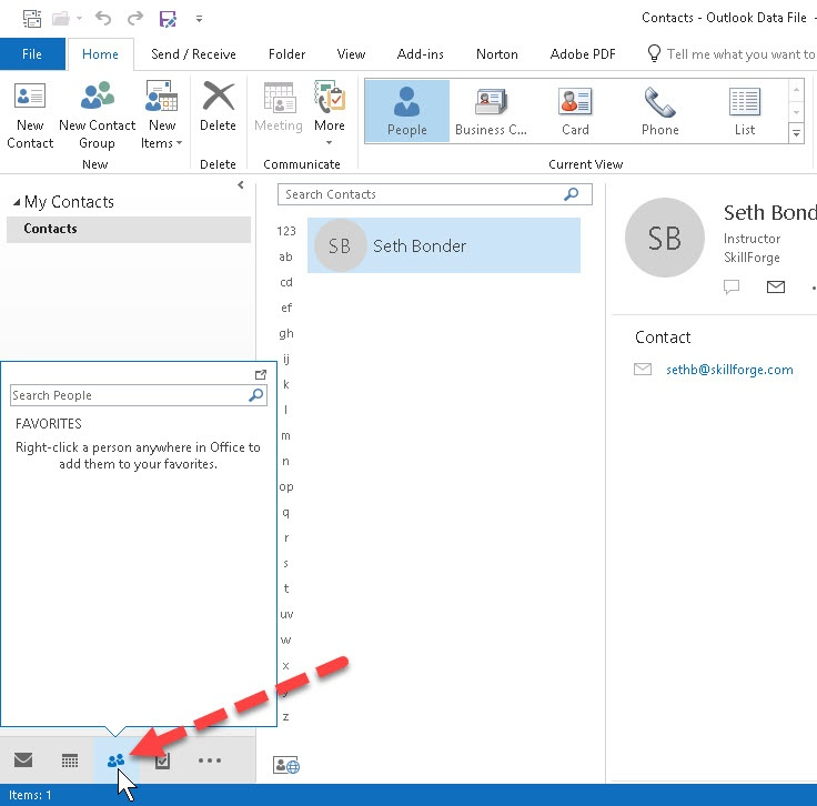How to Edit Contacts and the Business Card in Outlook SkillForge